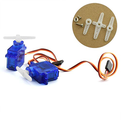 - ZYAMY 2PCS SG90 9g Micro Servo with Accessories Mini Digital Smart Electronics Parts Steering Gear Toy Motor for RC Planes Helicopter Quadcopter Airplane
