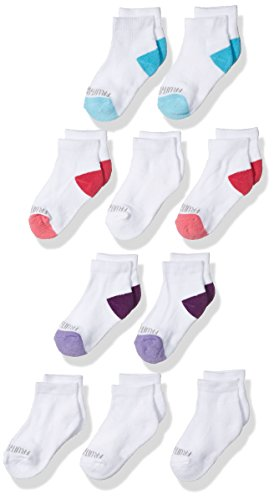 Fruit of the Loom Girls' Half Cushion Ankle 10 Pack Sock