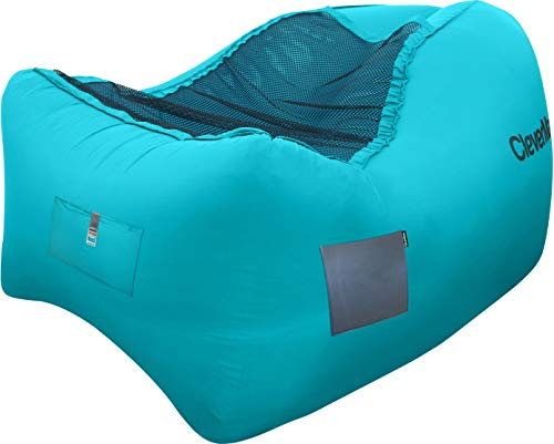 CleverMade Quikfill Outdoor Inflatable Lounge Chair with Carry Bag Bottle Opener & Ground Stakes, Teal by CleverMade