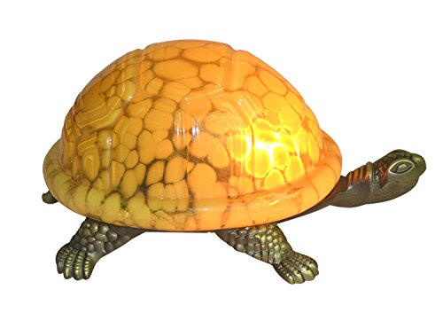 Mini Tiffany Turtle - NOSHY Premium Tiffany Style Turtle/Tortoise Table/Accent Lamps/Night Lights, 8-Inch Length, 1-E12 Socket, Yellow Color, Pack of 1