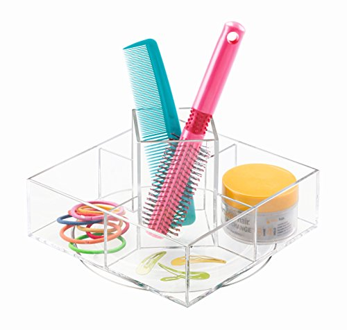 InterDesign Luci Turntable Cosmetic Organizer for Vanity Cabinet to Hold Makeup and Beauty Products, Clear by InterDesign
