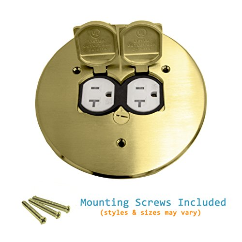 Enerlites 975517-C 5.75'' Brass Dual Flip Lid Cover by Electrical Floor Box Lid, 20A Duplex Tamper-Weather Resistant Outlet, UL Listed by Enerlites (Image #4)
