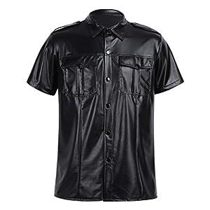 YiZYiF Men's Black Leather Shirt BLUF Gay Sheep Lamb Police Uniform Club Party Top