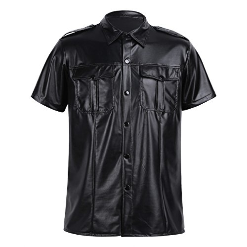 YiZYiF Men's Black Leather Shirt BLUF Gay Sheep Lamb Police Uniform Club Party Top Black - Shirt Leather