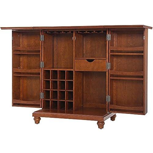 Crosley Furniture Cambridge Expandable Top Bar Cabinet   Classic Cherry