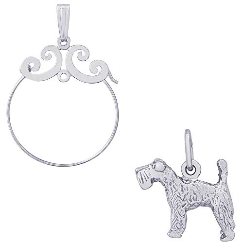 Charm Kerry Terrier Blue Dog (Rembrandt Charms Kerry Blue Terrier Charm on a Rembrandt Charms Carefree Charm Holder)