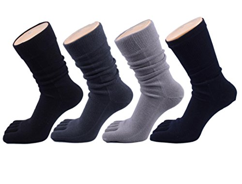 Cheap Tomily Five Finger Sports Crew Toe Socks for Men Value 4 Pairs