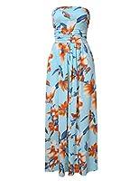 GloryStar Women Strapless Maxi Boho Vintage Summer Beach Floral Print Hawaiian Party Long Dress