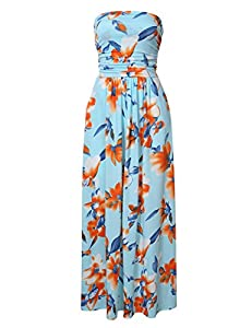 GloryStar Women Strapless Maxi Boho Vintage Summer Beach Floral Print Hawaiian Party Long Dress