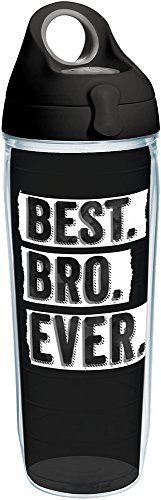 Tervis 1248802 Best Bro Ever Tumbler with Wrap and Black with Gray Lid 24oz Water Bottle, Clear