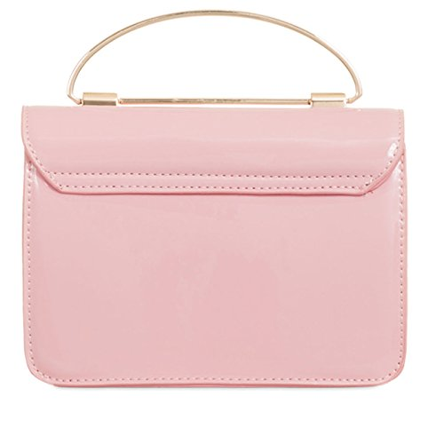 Chain Small Minimal Cross Satchel Strap Shoulder Bag Top With London Xardi Clutch Pink Vinyl Handle Patent Leather Shine Long Handbag Women Body Plain 6RxwpqA