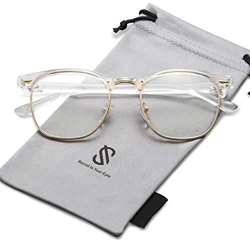 SOJOS Semi Rimless Eyewear Frame Clubmaster Eyeglasses Half Horn Rimmed Glasses SJ5018 with Transparent Frame/Gold Rim/Clear ()