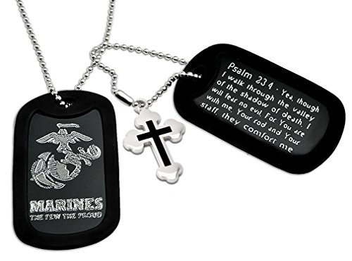 U.S. Marines + Psalm 23:4 Bible Verse Inscription Military Style Aluminum Dog Tag Necklace 24 Inches