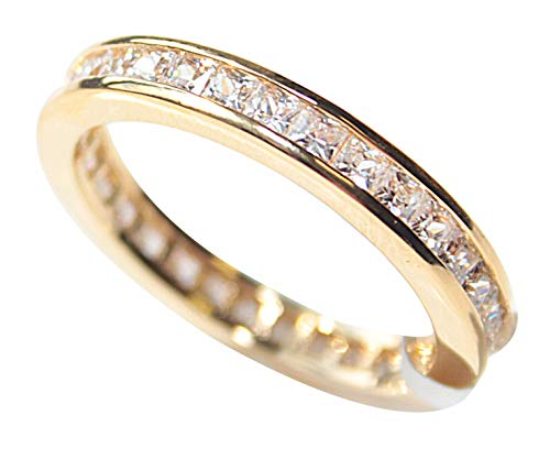 Women's GIFTBOXED Genuine Gold Filled 18K Eternity Ring. UK Guarantee:...