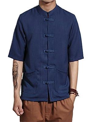 Plaid&Plain Men's Short Sleeve Linen Shirt Madarian Collar Shirt Tai Chi Clothing