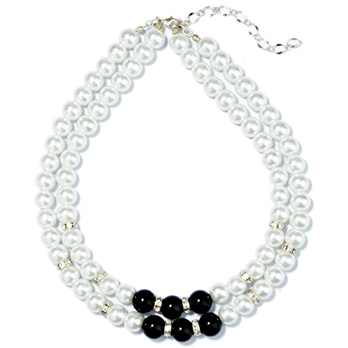 Prestep 2 Strands Inlaid Rhinestone Black and White Glass Pearls Necklace