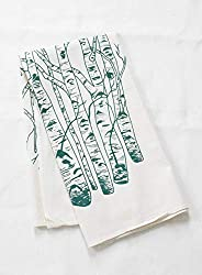 Organic Cotton Birch Tree Tea Towel in Dark Green