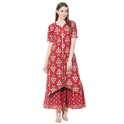 KHUSHAL Women's Cotton Printed Kurta with Sharara Palazzo Set X-Large Red