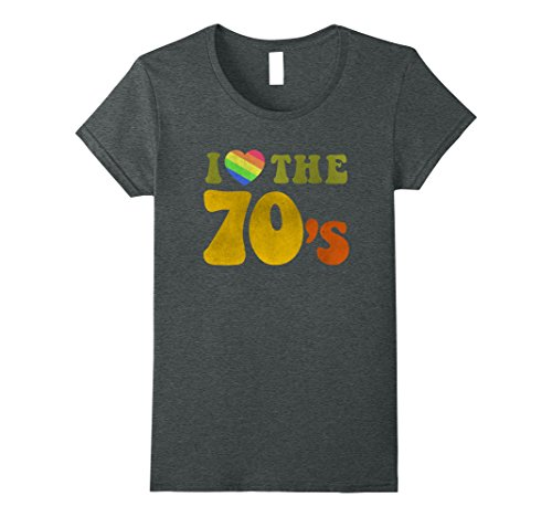 Womens I Love 70s Tshirt Vintage Rainbow Made In 70s Large Dark (Women In The 70s)