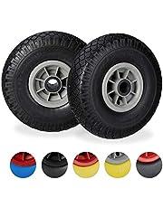 Relaxdays Steekwagenwiel, set van 2, lekbestendige 3,00-4 inch massief rubberen banden, 25 mm as, tot 80 kg, 260 x 85 mm, zwart-grijs