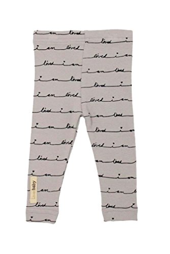 L'ovedbaby Unisex-Baby Organic Cotton Leggings (12-18 Months, Light Gray I Am L'oved)
