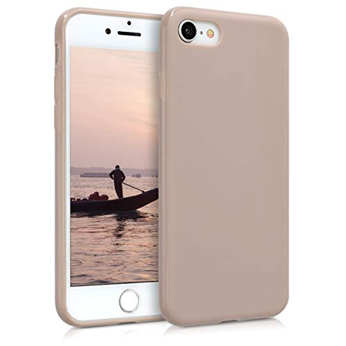 kwmobile TPU Silicone Case for Apple iPhone 7/8 - Soft Flexible Shock Absorbent Protective Phone Cover - Cream Matte