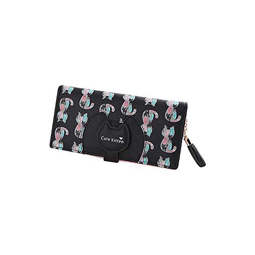 Women Wallet Cute Cartoon Long Small Fresh Two Fold Zipper Buckle Small Wallet (Black)