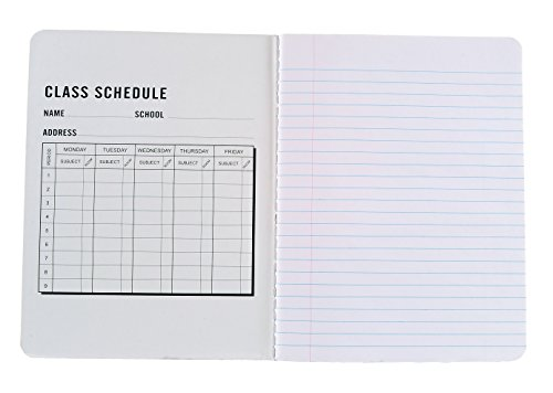 4-Pack Composition Notebook, 9-3/4 x 7-1/2, Wide Ruled, 100 Sheet (200 Pages), Weekly Class Schedule and Multiplication/Conversion Tables on Covers - Styles: Tiles, Flowers, Shapes, Spots (4-Pack)