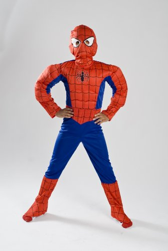 Spiderman Costume Boys kids light up Size S M FREE MASK 4 5 6 7 8 9 (4-6) ()