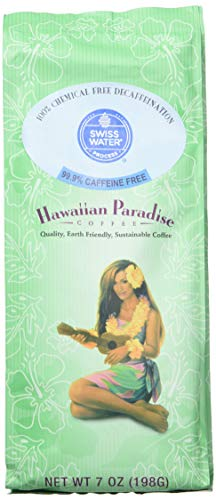 Hawaiian Paradise Coffee Caffeine Free {7 oz}- World Class Premium Flavored Grounds Gourmet | Made From the Finest Beans | Farm Fresh Earth Friendly Responsibly Sourced | Island Favorite Swiss - Ground Hawaiian