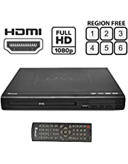 Region Free HDMI DVD Player by OREI - Multi Zone 1, 2, 3, 4, 5, 6 Supports 1080P - Compact Video Player - USB Input Divx Playback - Built-in PAL/NTSC - Remote Control - Worldwide Voltage