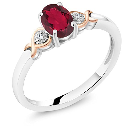 Gem Stone King 925 Sterling Silver and 10K Rose Gold Ring Ruby Red Mystic Topaz with Diamond Accent 0.80 cttw (Size 6) ()
