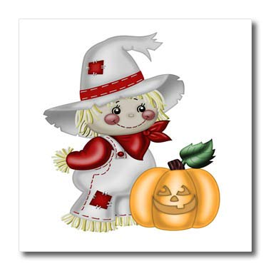 - 3dRose Anne Marie Baugh - Illustrations - Cute Smiling Scarecrow with A Pumpkin Illustration - 6x6 Iron on Heat Transfer for White Material (ht_317966_2)