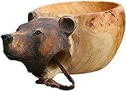 Kuksa Wooden Cup Nordic Kuksa Guksi Portable Outdoor Camping Drinking Cup Hand-Carved Animal Head Wooden Water
