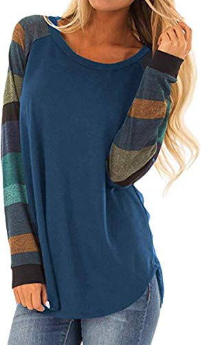 (Karuina Women's Plaid Sleeve Pullover Tops Long Sleeve Loose Crewneck Color Block Tunic Shirts Blouses)