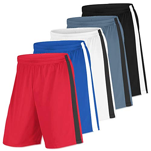 Men's Basketball Shorts High Performance Active Athletic Moisture Wicking Mesh Sports Gear with Pockets - 5 Pack (Medium, Edition 1)