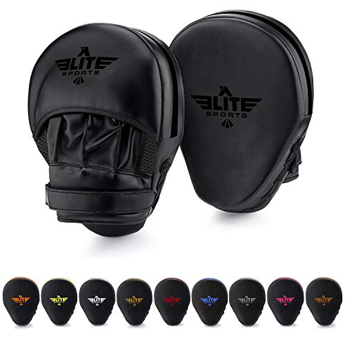 - Elite Sports Boxing Punch Focus Mitts - for MMA, Kickboxing, Muay Thai Sparring (Black)