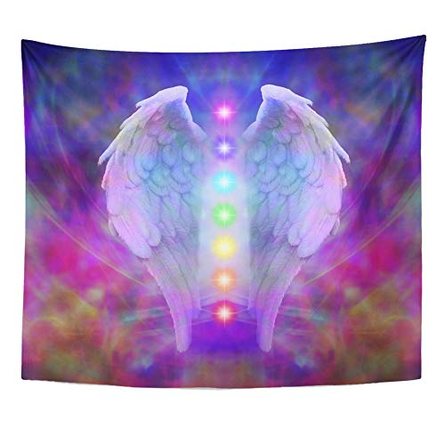 "Emvency Tapestry 50""x60"" Mandala Indian Hippie Wall hangings Reiki Angel Wings and Seven Chakras On Colorful Soul Healing Divine Symbol Age Light Home Decor Tapestries for Living Room"
