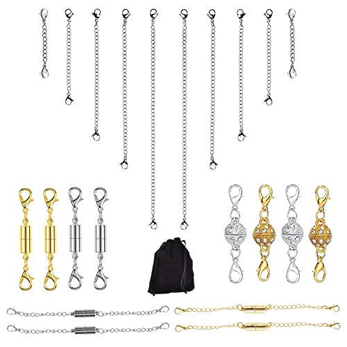 (Magnetic Clasps,22 Pcs Magnetic Jewelry Clasps for Necklaces,Gold and Sliver Color Chain Extender Converter for Jewelry Making,Perfect for DIY Bracelet Anklet Use)