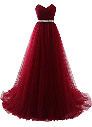 Dannifore Burgundy Strapless Prom Dress Tulle Princess Evening Gowns With Rhinestone Beaded Belt Size 16 - Empire Strapless Satin