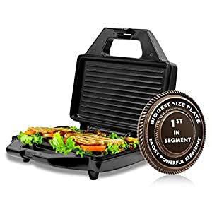 KATTICH Electric Automatic GRILL SANDWICH Maker/Toaster Machine with Fixed Non Stick Plates for Home use 750 W (Silver…