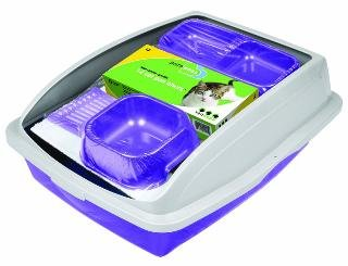 Ness Cat Pan Starter Kit Framed pans reduce litter spills, latches lock top to bottom, and holds liner in place.