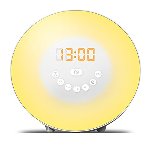 Wake Up Light - 7 Color Light - Sunrise Alarm Clock For Heavy Sleepers - FM Radio, Nature Sounds With Night Light - Touch Control - USB Charger