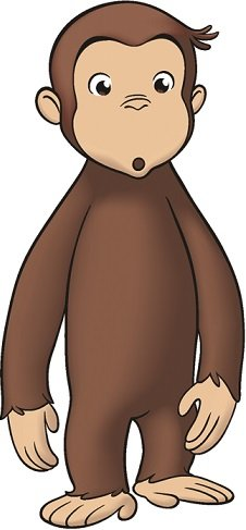"""9"""" Curious George Monkey Animal Removable Peel Self Stick Adhesive Vinyl Decorative Wall Decal Sticker Art Kids Room Home Decor Girl Boy Children Bedroom Nursery 4 x 9 inches tall"""