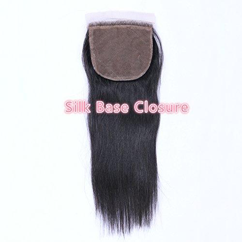 Beata Hair Free Part Silk Closure Straight 4x4inch Silk Base Top Closure 130% Density 8A Virgin Brazilian Hair Natural Color (10inch)