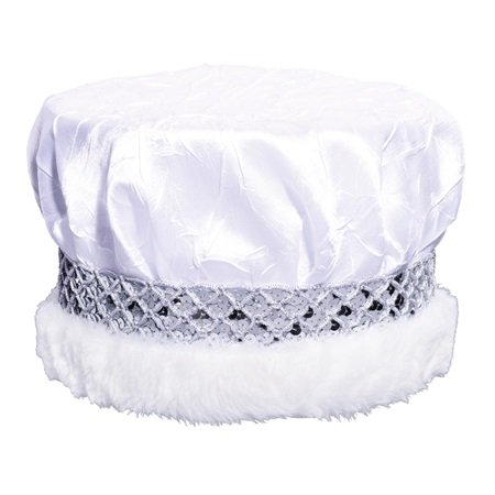 - White Crushed Satin Crown, Silver Sequin Band and Faux Fur Trim, 6 1/2 Inch high