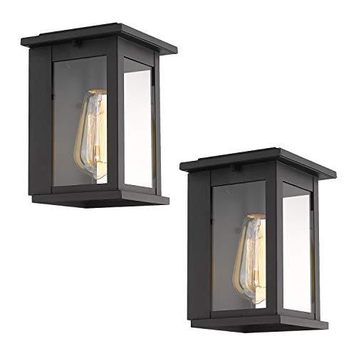 Outdoor Sconce Finish - Emliviar 2 Pack Outdoor Wall Sconces, Wall Mounted Light Fixture with Clear Glass in Black Finish, 1810-AW1-2PK