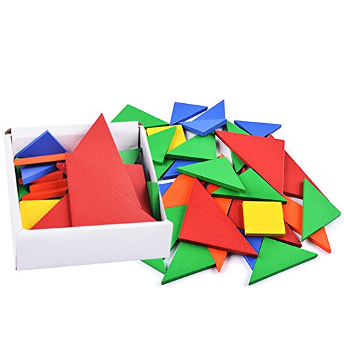BUYITNOW Kids Colorful Wooden Tangrams Set Geometry Shape Puzzle Toy 32 Pieces by BUYITNOW