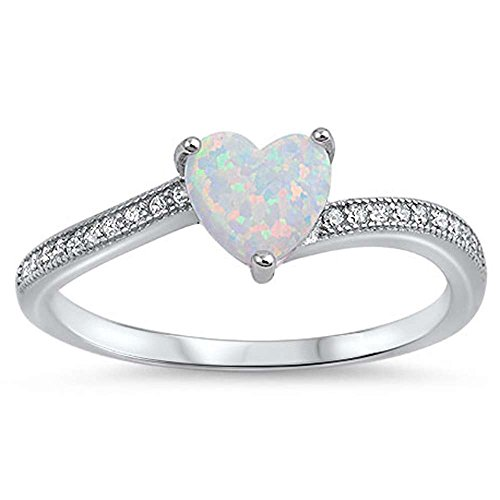 Oxford Diamond Co Heart Shaped Lab Created White Opal with Cubic Zirconia .925 Sterling Silver Ring Size ()