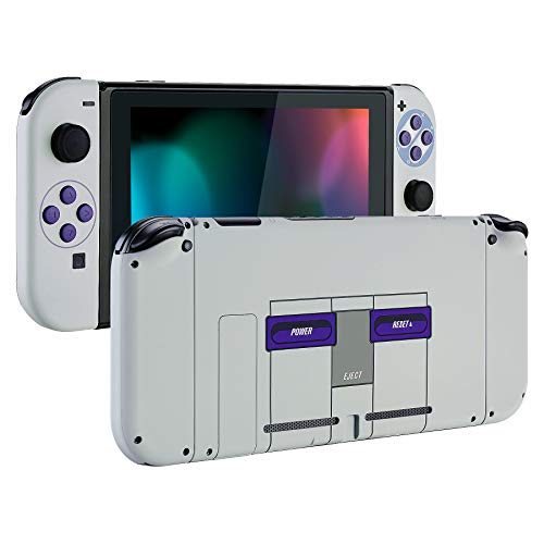 eXtremeRate Soft Touch Grip Back Plate for Nintendo Switch Console, NS Joycon Handheld Controller Housing with Full Set Buttons, DIY Replacement Shell for Nintendo Switch - Classics SNES ()
